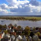 Brake/Unterweser, Mitteldeich über Weser zum Harriersand